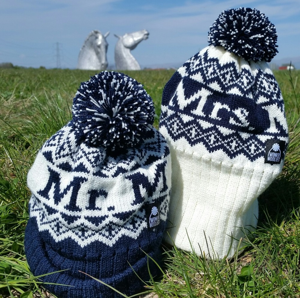 A picture of Mr and Mrs knitted bobble hats gift set.