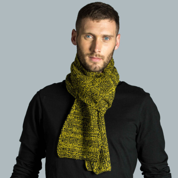 Model wearing lambswool scarf