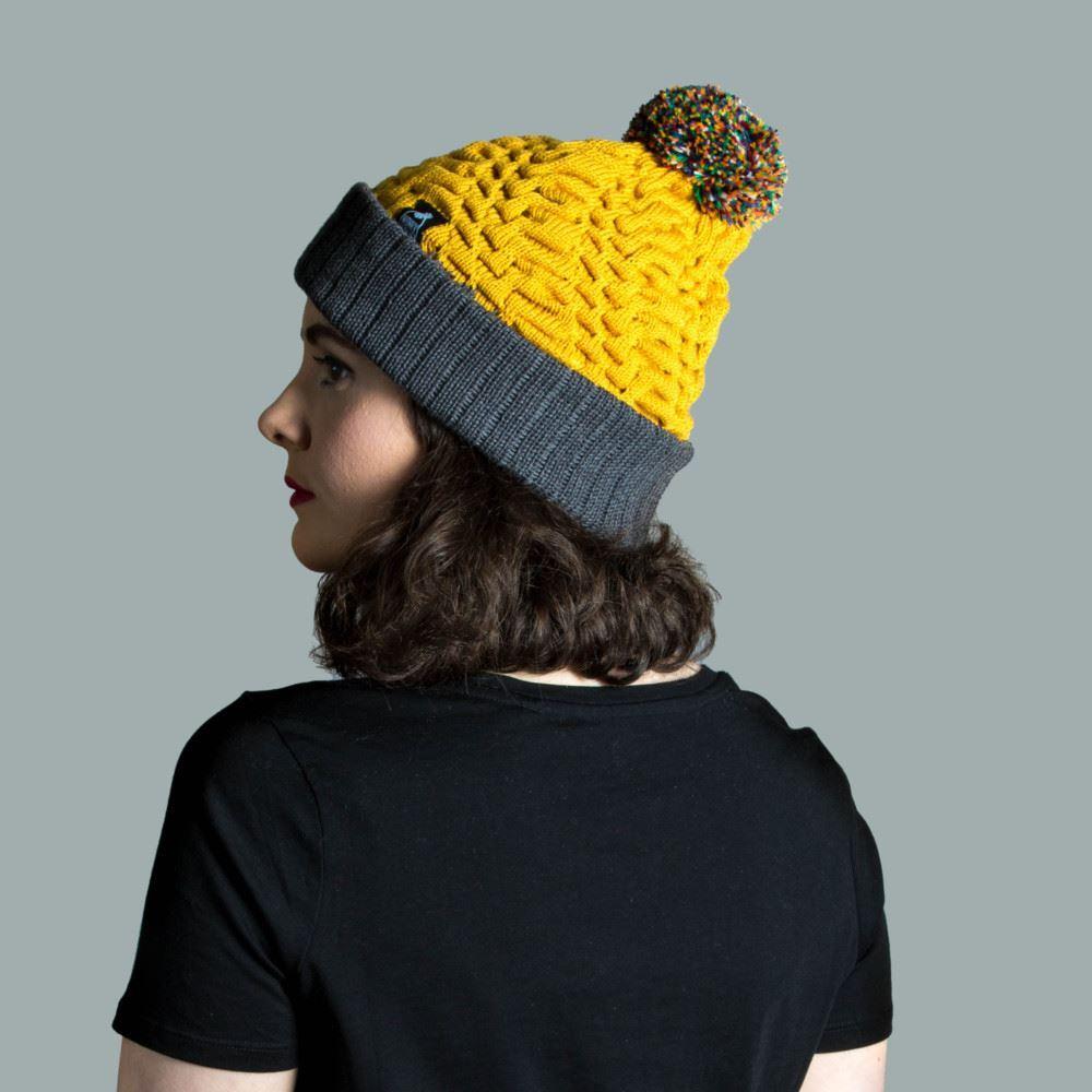 Model wearing knitted merino hat