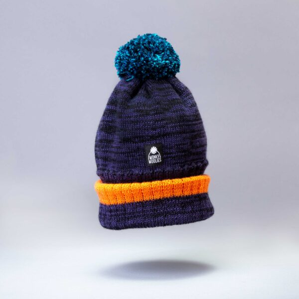 purple and black marl bobble hat with orange tip and blue pompom, made from luxurious merino wool