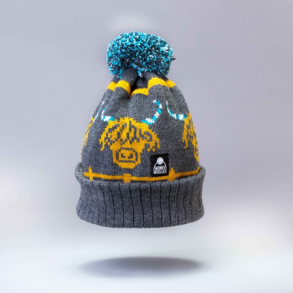 The grey and mustard colour way of our Highland Cow hat is very popular.