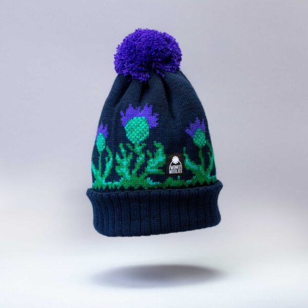 The Wonky thistle design is available in three colours, all made in Scotland