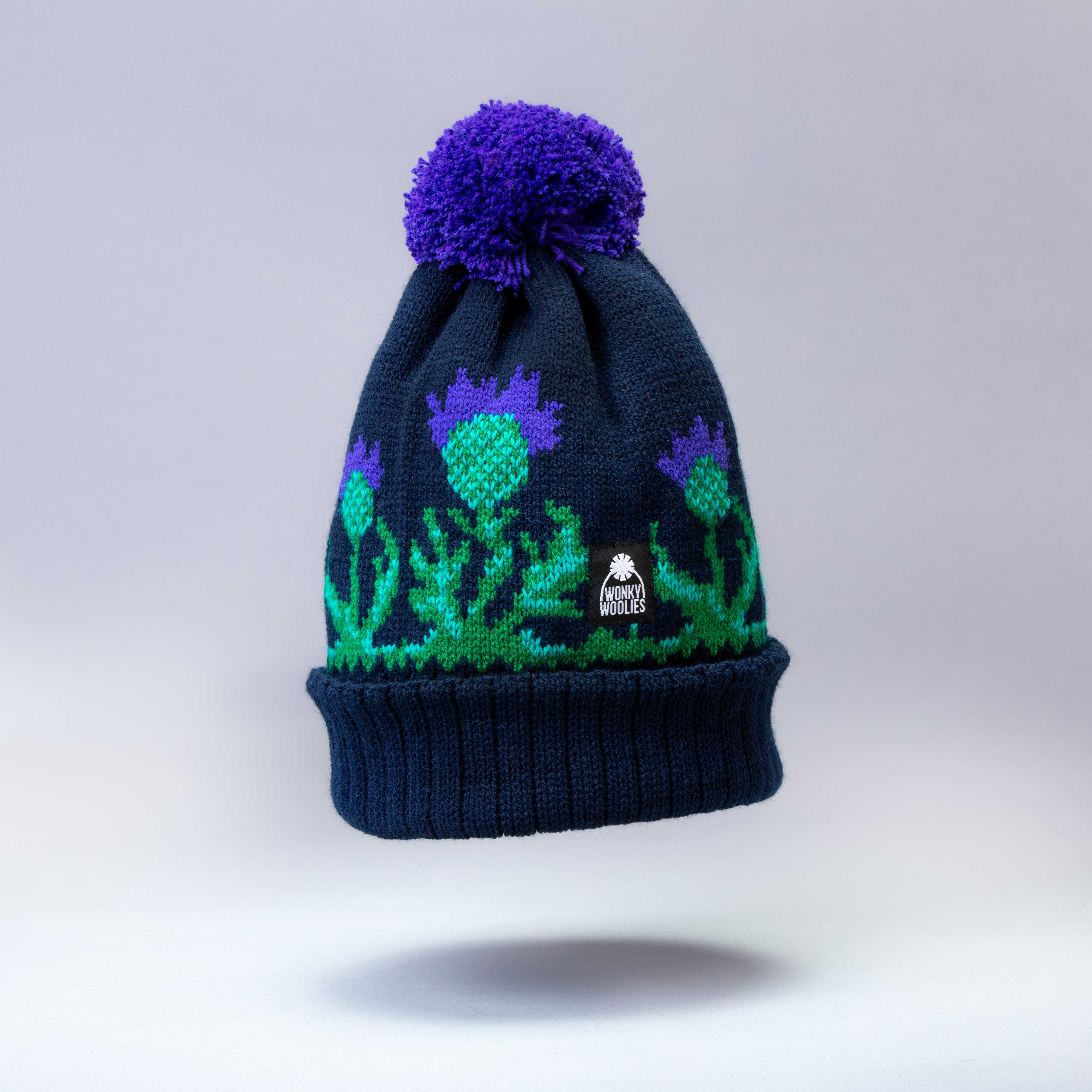Royal Blue and White Traditional Style Bobble Hat