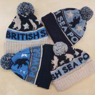 Custom beanie hats made with Shetland wool and acrylic yarn for UK band BSP based in Brighton.