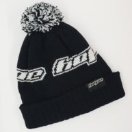 Custom bobble hat with Hope Technology brand knit detail and label attached to the fold.  Hope Technology are industry leaders in the design and manufacture of bike components, based in Barnoldswick.