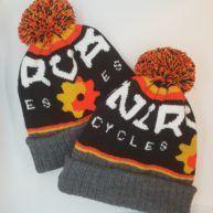Fully bespoke branded beanie hats made for Nirvana Cycles bike shop based in Dorking, Surrey.