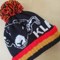 Bespoke knitted beanie hats featuring the ram made for the team and supporters at Kirkby Lonsdale Rugby Union Football Club est 1877.