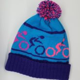 Bespoke bobble hats made for the Breezers, women's cycling group based in the Scottish Borders.