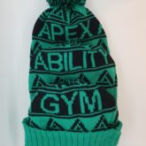 Custom bobble hats made for Apex Ability Gym, strength and body conditioning experts based in Durham.