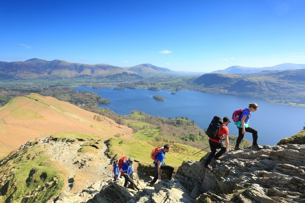 Group of hikers climbing at Keswick Mountain Festival