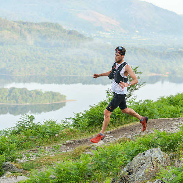 Man running in trail race at Keswick Mountain Festival