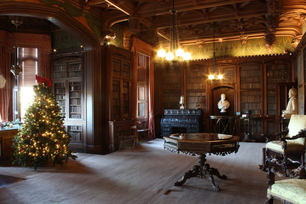 A grand room at Abbotsford House decorated for Christmas.