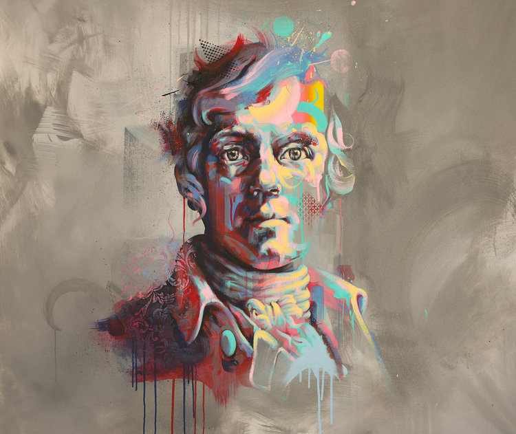 A painting of Robert Burns by artist Michael Corr.