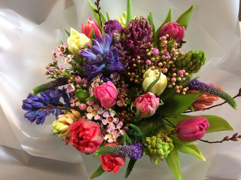 A bouquet of flowers for Valentines Day.