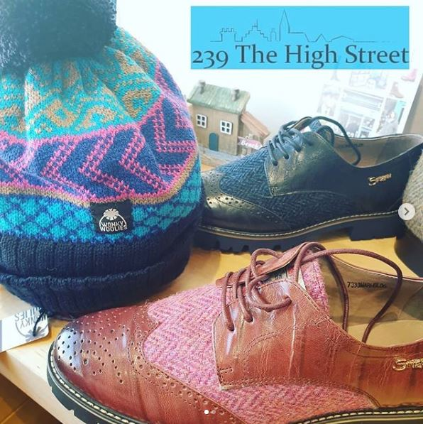 Wonky Woolies and Harris Tweed Brogues stocked at 239 The High Steet