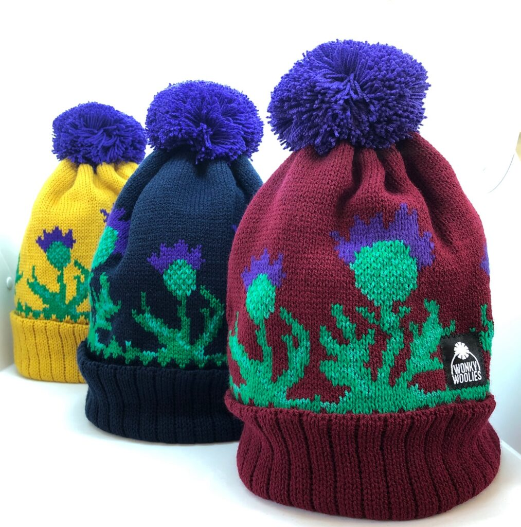 Wonky Woolies Thistle hats are available at 239 The High Street.