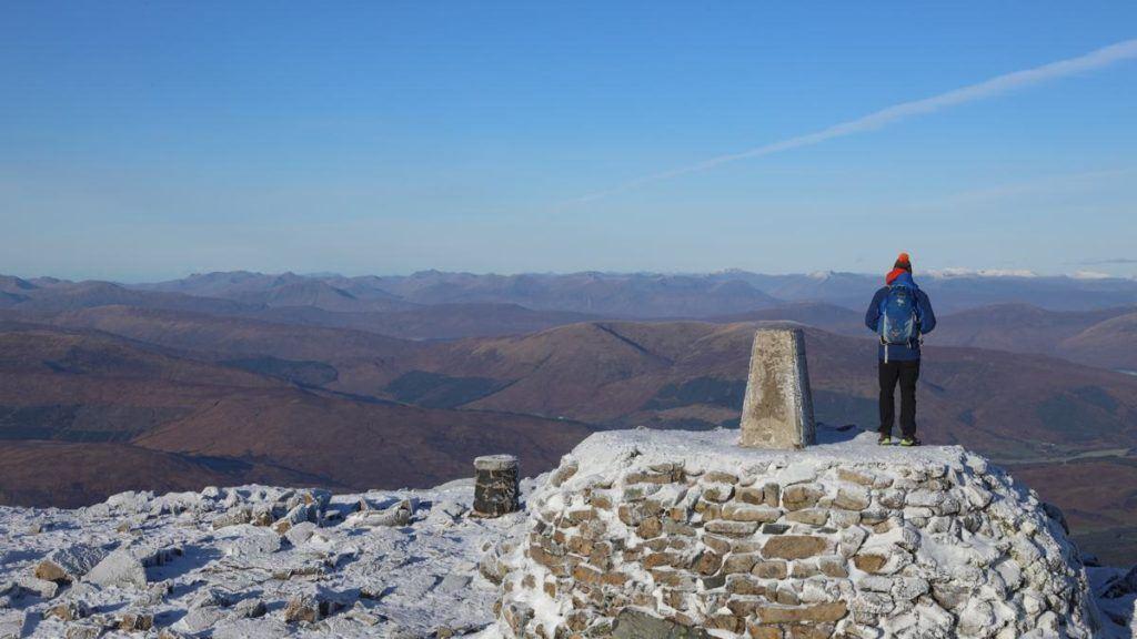 The summit of Ben Nevis, the highest Munro in Scotland.