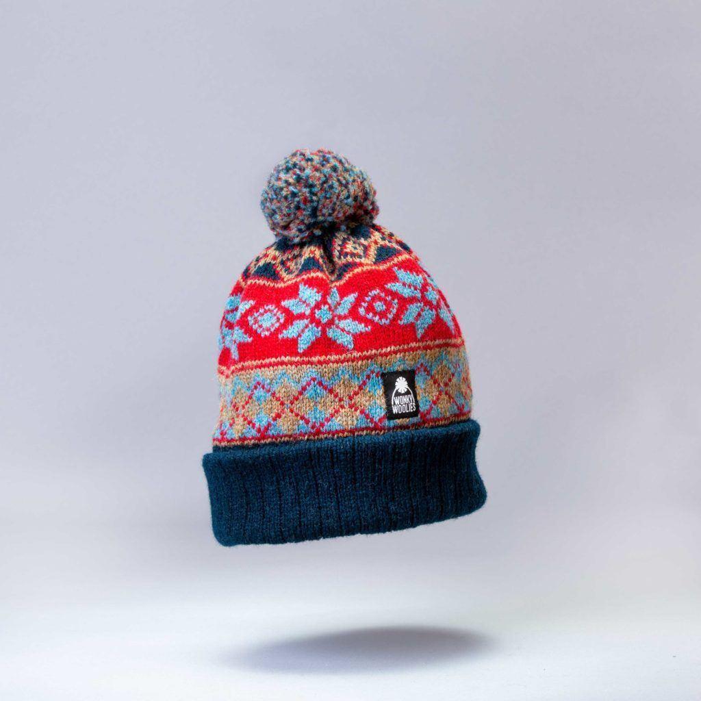 Argyle Coast bobble hat knit with wool.