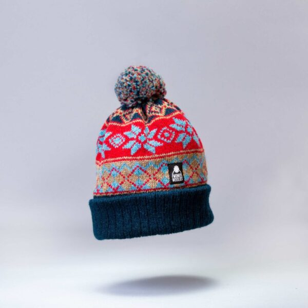 Argyle Coast bobble hat knit with wool.