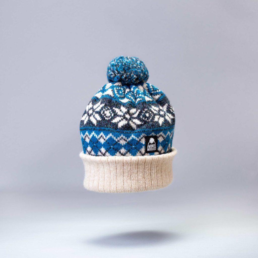 Argyle Explorer, a bobble hat knit with Shetland wool.