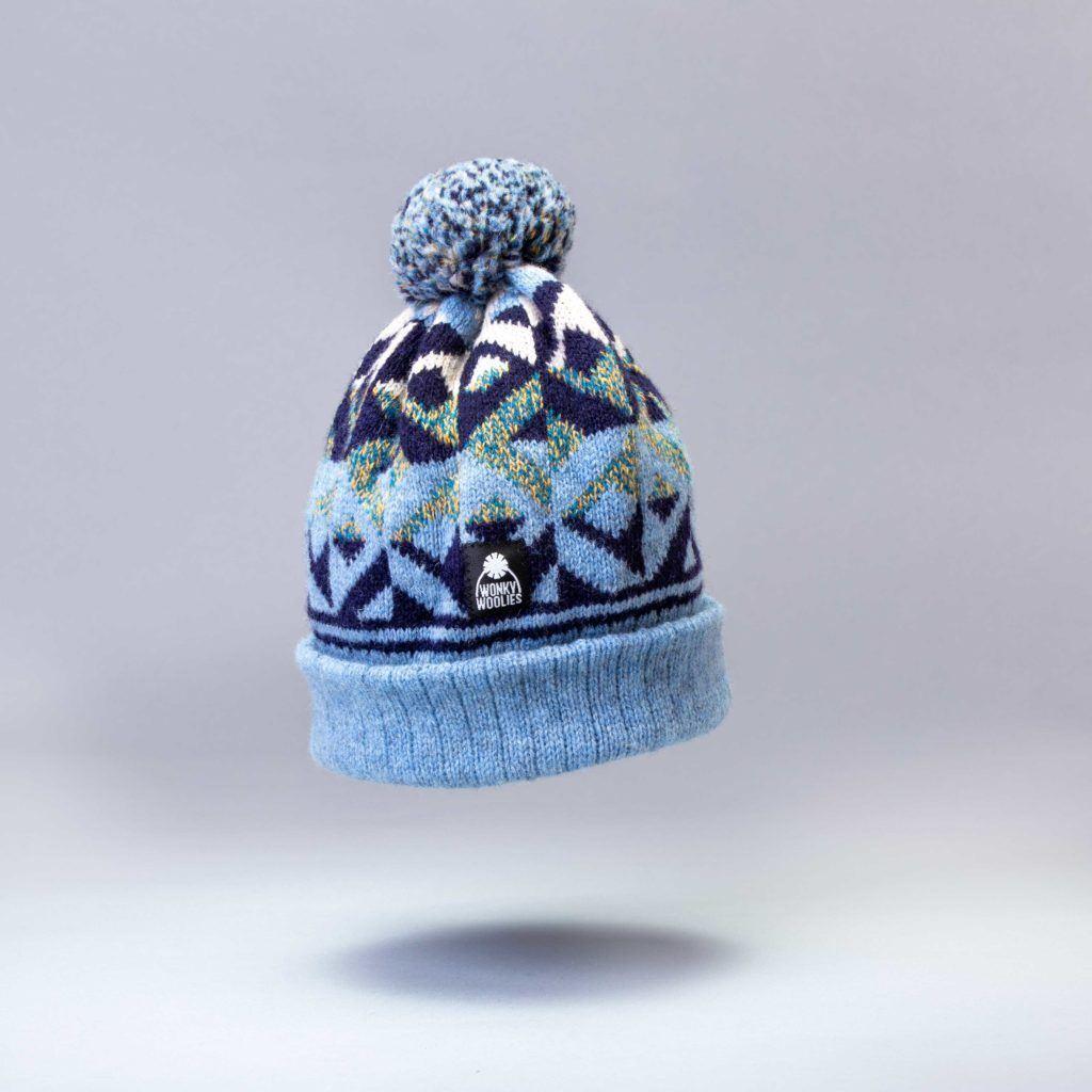 Ettrick Frozen bobble hat knit with Shetland yarn.