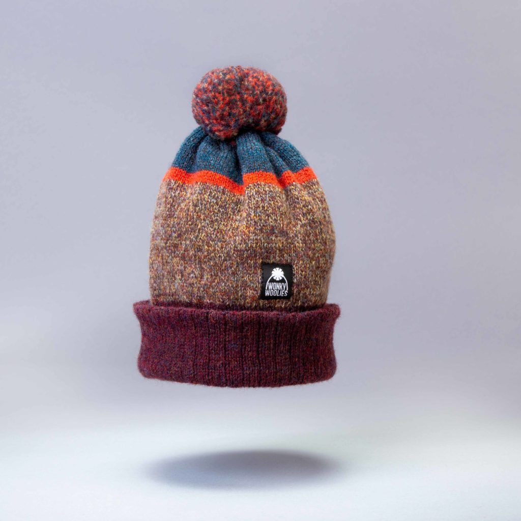 Yair Sunset bobble hat knit with wool.